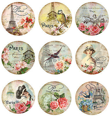 AsSoRTeD VinTaGe IMaGe PaRis CircLe LaBeLs ShaBby WaTerSLiDe DeCALs