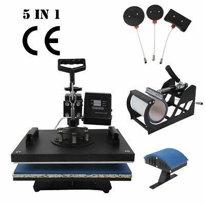 5 in 1 Sublimation Heat Press Transfer Machine T-Shirt Printer Mug Cup Plate Hat