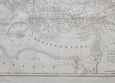 1861 Antique Map Travel Of The Apostles St Peter & St Paul Mediterranean Greece