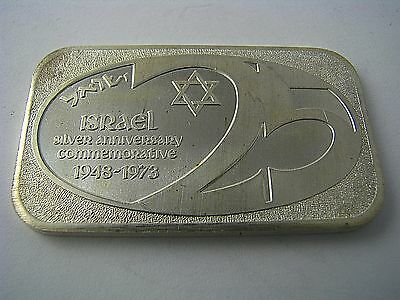 1 Troy Oz .999 FINE SILVER ART BAR ISRAEL 25 by United States Silver Corp. 1973