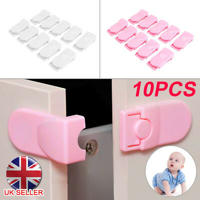 10pcs Cabinet Baby Locks Safety Child Proofing Lock Latch Fridge Cupboard Oven
