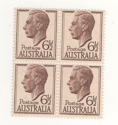 1950 Australia KGVI 6&1/2d Brown in  BLOCK x 4 stamps mint MUH