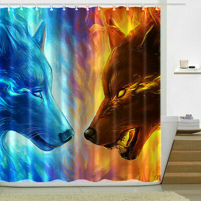 Fox Decor Collection Art Print Pattern Polyester Fabric Bathroom Shower Curtain