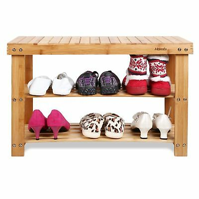 2 Tier Shoes Bench Storage Rack Stool Shoe Cabinet Bamboo Cupboard Wooden Seat