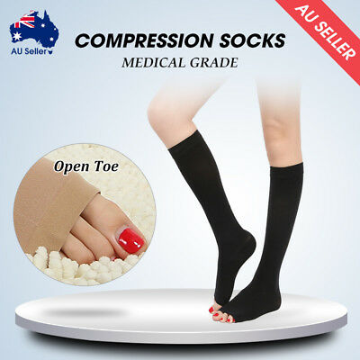 Medical Compression Socks Open Toe Varicose Stockings Anti-Fatigue Flight Travel