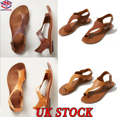 Womens Gladiator Sandals Summer Flat Leather Shoes Roma Casual Style Open Toe UK