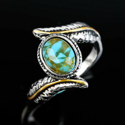 #5-10Turquoise Gem Silver Wedding Party Band Ring 10KT White Gold Filled Jewelry