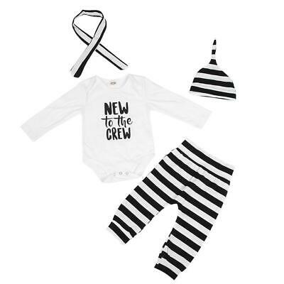 Cotton Infant Toddler Baby Striped Pattern Long Sleeve Jumpsuit Outfit Clothes