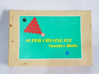 Vintage Boxed Super Crystalate Snooker Balls (No White Ball) Made In England