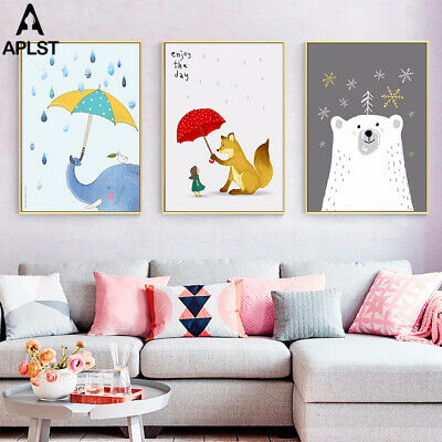Baby Kids Room Decor Adorable Cartoon Print Paintings Educational Picture Art
