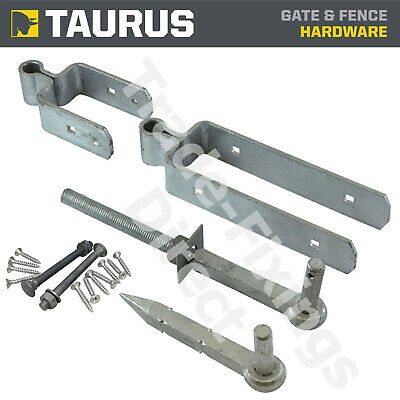 Standard Double Strap Fieldgate Hinge Set Hot Dipped Galvanised + Fixings
