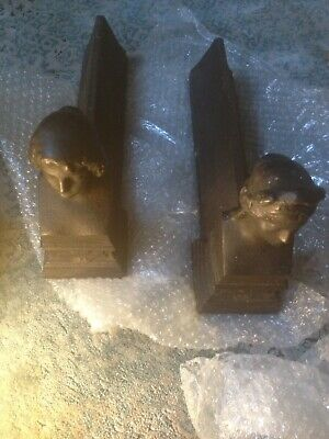 A Pair Of French Cast Iron Antique Fire Dogs Women's Heads