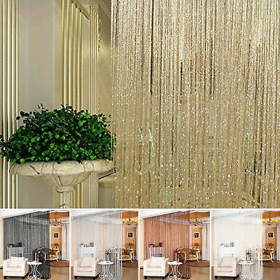 Glitter String Curtain Panels Fly Screen & Room Divider Voile Net Curtains Decor