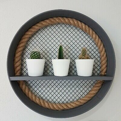 Industrial style Metal Wall-Mounted Wooden Shelf with Mesh Back