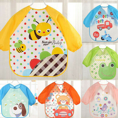 Cute Baby Long Sleeve Cartoon Letter Waterproof Feeding Art Apron Bib Smock USA