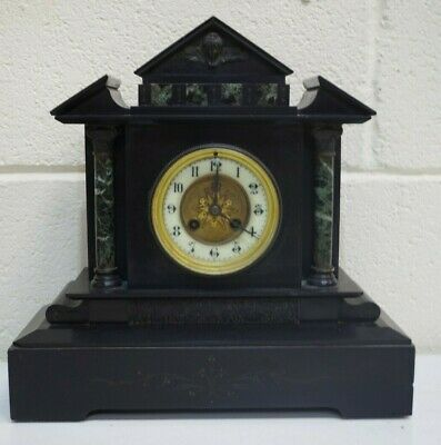 Antique 19th Century French Slate Eight Day Marble Mantel Clock - 250