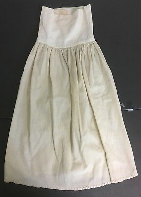 "VINTAGE VICTORIAN Off WHITE & TAN COTTON GIRL'S LONG PETTICOAT SKIRT 27"" Long"