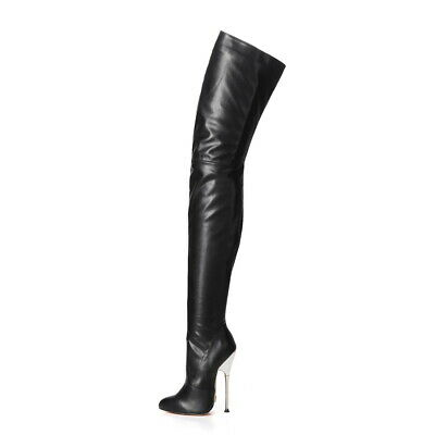 6e04662e9e9 GIARO BE BRAVE Black Shiny fetish boots with Silver Heel - £113.81 ...