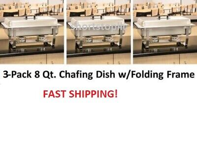 3 Pack Full Size Buffet Catering Stainless Steel Chafer Chafing Dish Sets 8 Qt