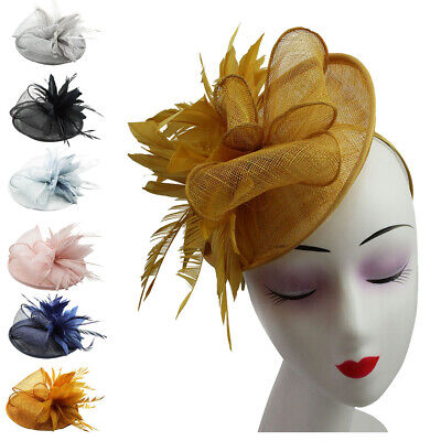 Large Flower Feather Disc Wedding Hat Fascinator Headband Clip Royal Ascot Race