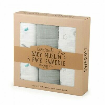 Petite Piccolo 3 Pack Swaddle Blanket - Feathers, Moon & Stars