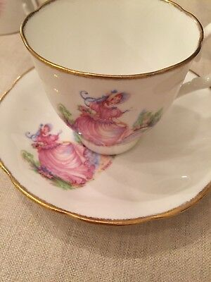 Vintage Tea Cup And Saucer  Miss Pinkie On Front - Beautiful!
