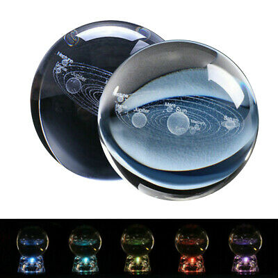 3D Clear Glass Engrave Solar System 60mm Crystal Ball With LED/Metal Base Gift