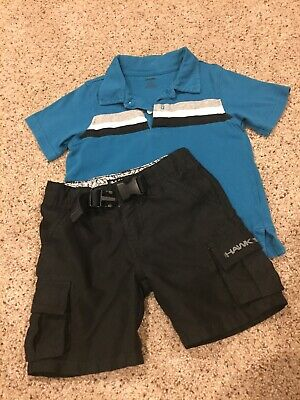 Boys Summer Outfit Gymboree Polo Shirt & Tony Hawk Shorts with Belt Clip Size 2T