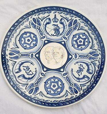 "9.6"" Dutch Delft Blue Plate Charger 50 years married Juliana Bernard 1937-1987"