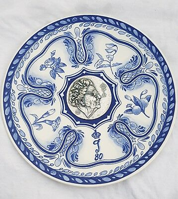 """9.6"""" Dutch Delft Blue Plate Charger Former Queen Juliana 80th Birthday in 1989"""