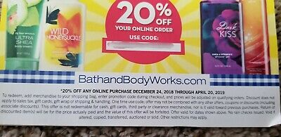 *1 Bath and Body Works 20% Off Online Coupon, Expires 4/20/2019*