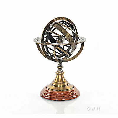 """Brass Armillary Sphere on Wood Base 11.5"""" Fully Assembled New"""
