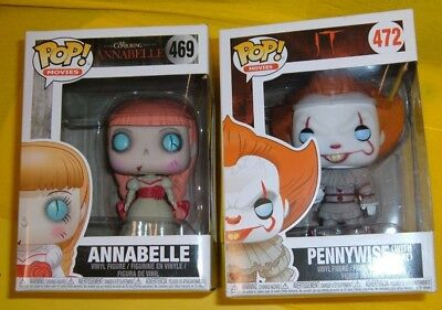 IT PENNYWISE w BOAT ANNABELLE CONJURING HORROR 469 472 FUNKO COLLECT POP FIGURE