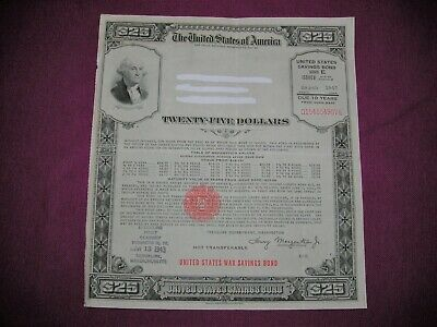 U.s. War Savings Bond Series E $25 Issued March 1943