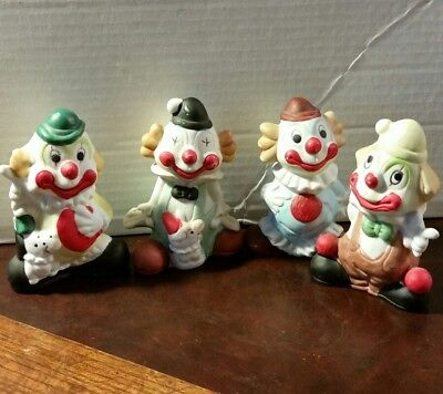 79f4ccde95a74 CIRCUS CLOWNS CERAMIC Figurine Set of Four (4) Funny Happy Smiling Faces 4