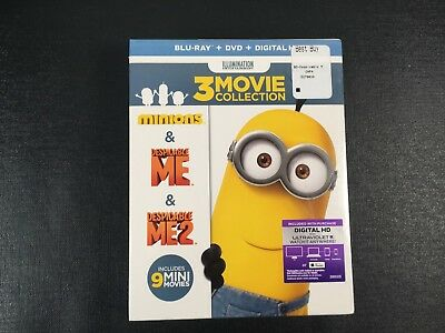 Despicable Me 1 & 2 and Minions 3-Movie Collection (Blu-ray/DVD) SEALED!