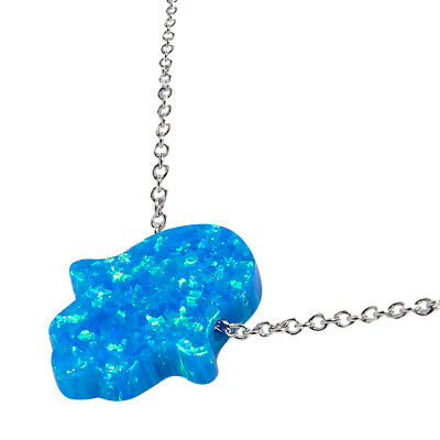 Hamsa Pendant Blue Opal on a Sterling Silver Chain Hand of Fatima Luck Charm