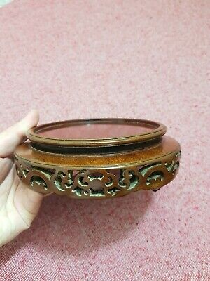 Good Vintage Chinese Carved Wood Stand For Vase Ect.