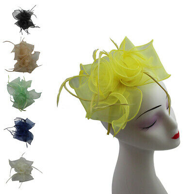 Flower Feather Synthetic Wedding Hat Fascinator Headband Clip Royal Ascot Race