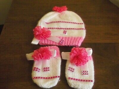 Baby Girls Romany Bling Handmade Hat And Mittens Set Ribbon Bows 0-3 Months