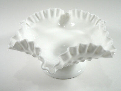 Vintage Fenton Milk Glass Hobnail Ruffled Art Glass Dish