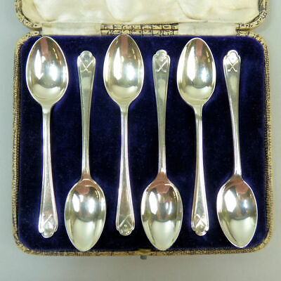 Set Of Six George V Antique Silver Golfing Design Teaspoons Sheffield 1933 -82 G