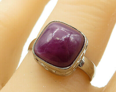 925 Sterling Silver - Bezel Set Square Cut Chalcedony Cocktail Ring Sz 7- R6361