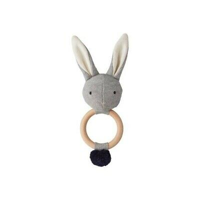 100% Organic Cotton Baby Rattle Grey Rabbit with Wooden Ring - Liewood