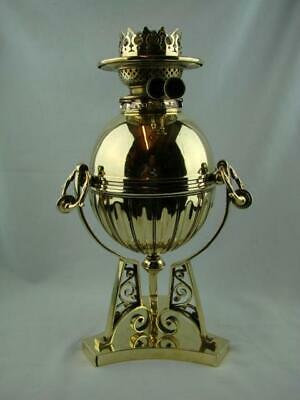Superb Antique Polished Brass Oil Lamp Base Drop In Font + Young's Duplex Burner
