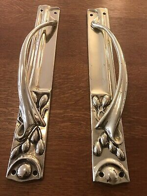 "Arts And Crafts  Door Pull  Handles Large 19"" Heavy Cast Brass"