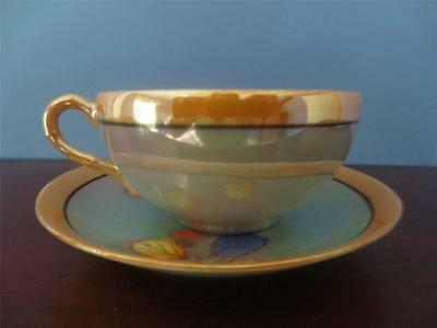 Blue/Orange Seiei Lusterware Cup and Saucer Made in Japan Pre-owned