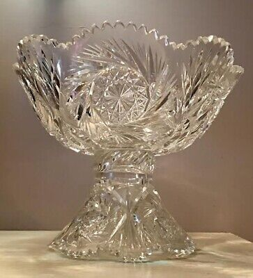 ANTIQUE AMERICAN BRILLIANT CUT GLASS PUNCH BOWL with BASE 19th CENTURY
