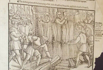 1570-Foxe's Book of MartyrsMartyrdom of John Bradford-Folio-Rare-Large-Engraving