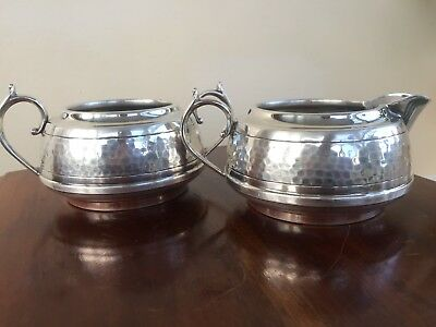 Old English Pewter Hand Mammered Knighthood Milk Pot And Sugar Bowl